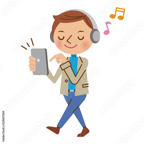 スマートフォンで音楽を聴く私服の男性 Canvas Print