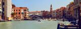 Panoramic view of Grand Canal (Canal Grande) with Rialto Bridge (Ponte di Rialto). Venice. Italy.