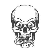 Skull With Eyes And Tongue Sti...