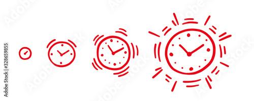 Obraz Alarm-clock louder. Alarm ringing increasing volume gradually animation progression. Sketch hand drawn red line. Flat vector infographic. - fototapety do salonu