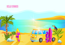 Summer California Banner With Palm, Yellow Van, Surfboards, Toucan In Cartoon Style. Colorful Ocean Beach Background With Copy Space. Outdoor Leisure Concept For Posters, Advertisements, Games