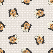 Hand Drawn Cute Rough Collie Puppy Dog Face Seamless Vector Pattern. Purebred Pedigree Puppy Domestic Dog On Paw Background. Dog Lover Sheepdog Pet All Over Print. Kennel Pooch. EPS 10.