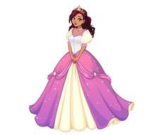 Pretty Cartoon Princess Standing And Wearing Pink Ball Dress. Dark Curly Hair, Big Brown Eyes.