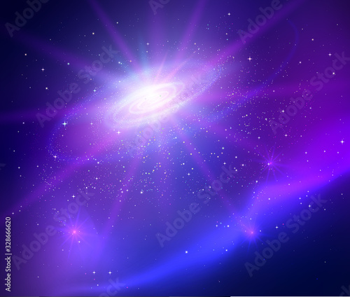 Photo Space with universe spiral vector background