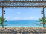 Empty tropical pool terrace 3d render with old wood flooring Wooden poles and covered with wooden battens overlooking the infinity pool and sea views