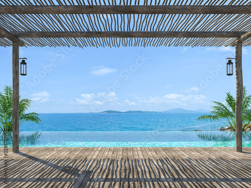 Fototapeta Empty tropical pool terrace 3d render with old wood flooring Wooden poles and covered with wooden battens overlooking the infinity pool and sea views obraz