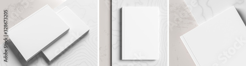 Fototapeta Realistic hardcover book or catalogue mock up on gray - white marble background