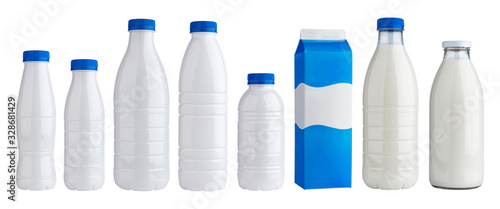 Foto Packaging for dairy products, plastic and glass bottles for milk isolated on whi