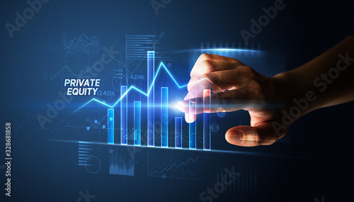 Hand touching PRIVATE EQUITY button, business concept Fototapet