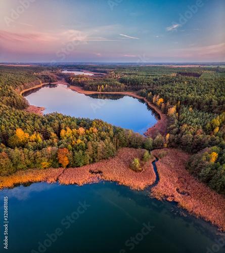 Jezioro Stęszewskie w Puszczy Zielonka, widok z lotu ptaka