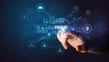 Hand Touching FRAUD Inscription, Cybersecurity Concept