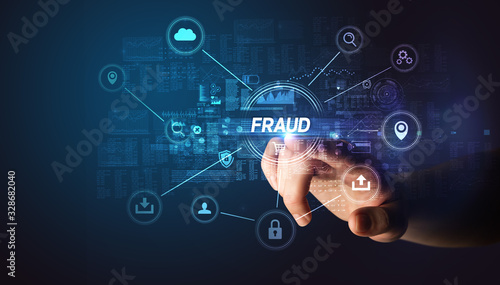 Canvas Hand touching FRAUD inscription, Cybersecurity concept