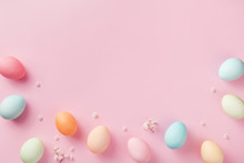 Pastel Easter Eggs On Pink Bac...