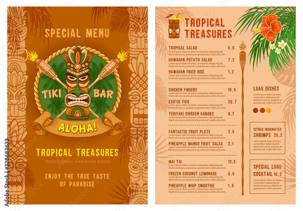 Fototapeta Template For Menu Of Tiki Bar Or Club