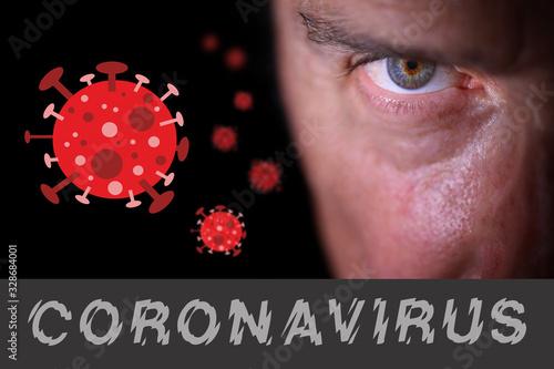Photo Sguardo di uomo con il disegno e la scritta del coronavirus