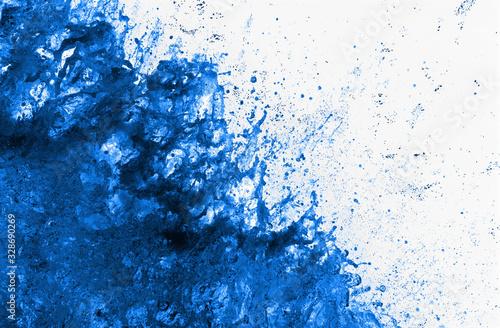 Esplosione con schizzi di liquido blu scuro Canvas Print