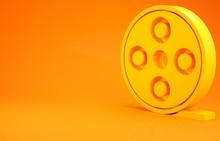Yellow Film Reel Icon Isolated On Orange Background. Minimalism Concept. 3d Illustration 3D Render