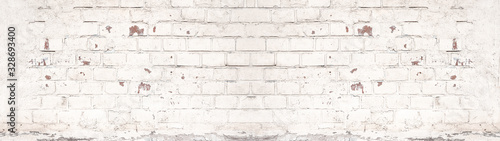Plakat Rustykalny  white-painted-damaged-rustic-brick-wall-texture-banner-panorama