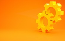 Yellow Gear Icon Isolated On Orange Background. Cogwheel Gear Settings Sign. Cog Symbol. Minimalism Concept. 3d Illustration 3D Render