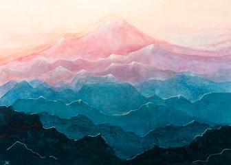 Panel Szklany Do sypialni Dipinto acquerello montagna