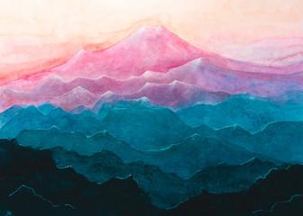 Panel Szklany Góry Dipinto acquerello catena di montagne color pastello rosa blu