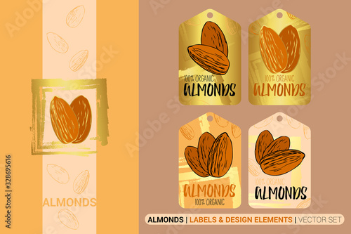 Creative nut tags with golden circle and square brush stroke design elements Canvas Print