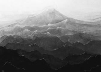 Panel Szklany Czarno-Biały Disegno bianco e nero montagna. Catena di montagne