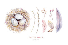 Watercolor Happt Easter Nest W...