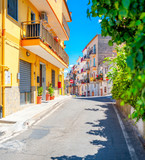 Street panorama in the old medieval city of Italy. City Architecture. European sights