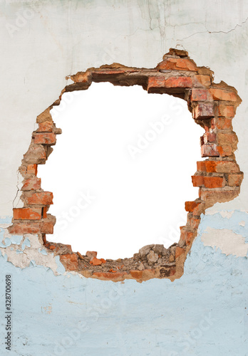 Fotografia Broken hole in an old brick wall