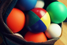 Close Up Of Colorful Different Juggling Balls In A Bag