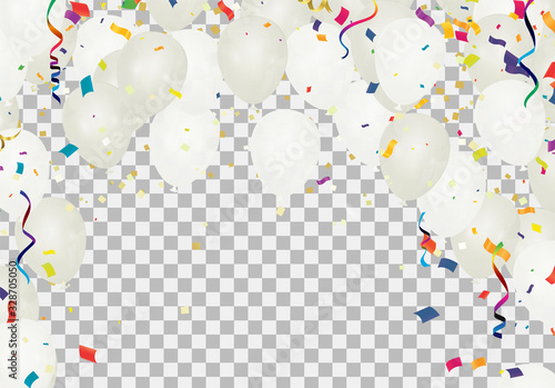 Many Falling variety of colors and white balloons party background. celebration