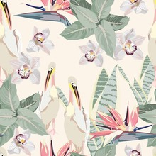 Tropical Vintage Palm Leaves And Plants, Exotic Flowers, Pelican Floral Seamless Pattern, Light Yellow Background. Exotic Jungle Bird Wallpaper, Mint Colors.