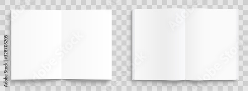 Photo Blank opened book, magazine and notebook template with soft shadows on transparent background