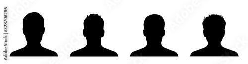 Fototapeta Man avatar silhouette set. Collection silhouettes. Male head silhouettes avatars. People avatar profile or icon - stock vector. obraz