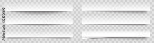 Transparent realistic paper shadow effects on checkered background Canvas Print