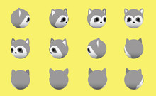 Animal Head Raccoon Animate Sp...