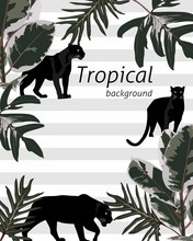 Botanical Wedding Invitation Card Template, Banner Design, Dark Leaves And Jaguar Panther Wild Animal On Striped Background, Minimalist Frame Or Birthday Invitation.