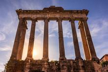 Roman Forum Columns At Sunset
