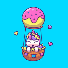 Cute Unicorn Flying Vector Icon Illustration. Unicorn Mascot Cartoon Character. Animal Icon Concept White Isolated. Flat Cartoon Style Suitable For Web Landing Page, Banner, Flyer, Sticker, Card