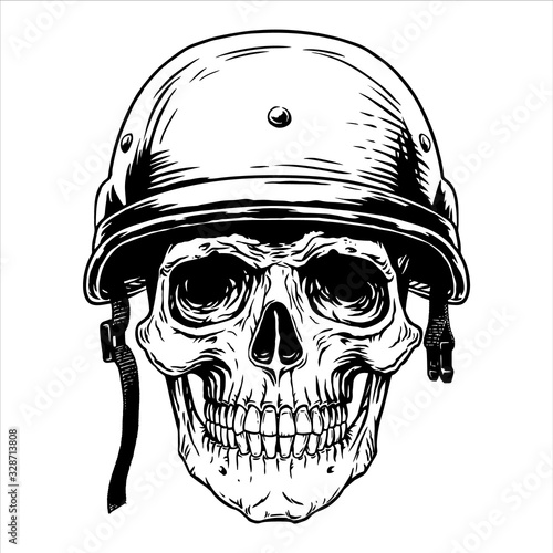 Military soldier skull head helmet fighter warrior, war, trooper, infantryman, b Fototapet