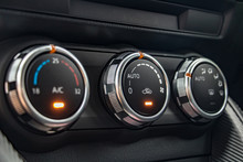 Air Conditioning Controls On The Car Dashboard. Close Up Car Ventilation System, Details Of Controls Of Modern Car.