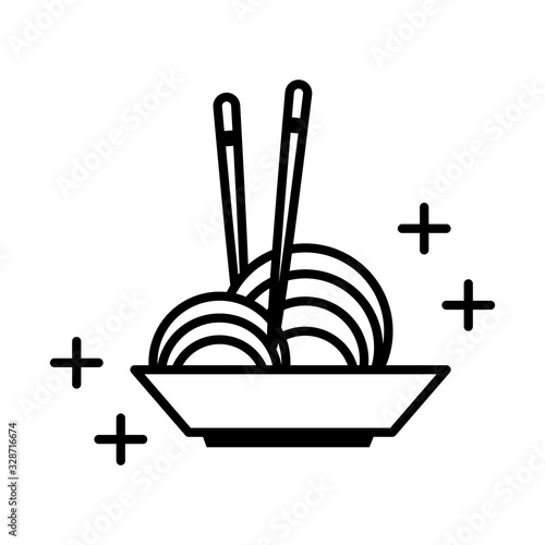 Photo sushi oriental menu noodles in bowl with sticks line style icon