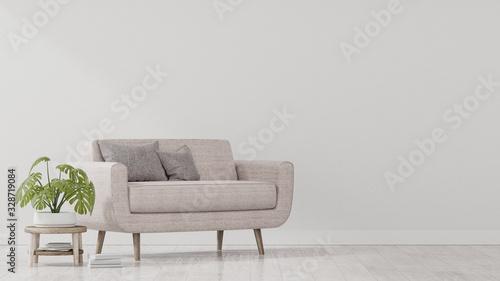 Modern vintage interior of living room - 3D Rendering Wallpaper Mural