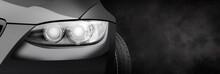 Car Headlight On A Black Dark ...