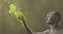 Broken Man With Green Butterfly, Surreal Painting, Nature Concept