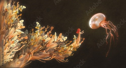 Photographie Girl with giant jellyfish in fantasy nature, digital painting