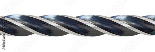 Photo Sharp cuts of screw-threads on wood drill, macro view