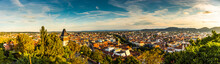 Panoramic View At Graz City With His Famous Buildings. Famous Tourist Destination In Austria