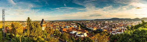 Fototapeta Panoramic view at Graz city with his famous buildings. Famous tourist destination in Austria obraz